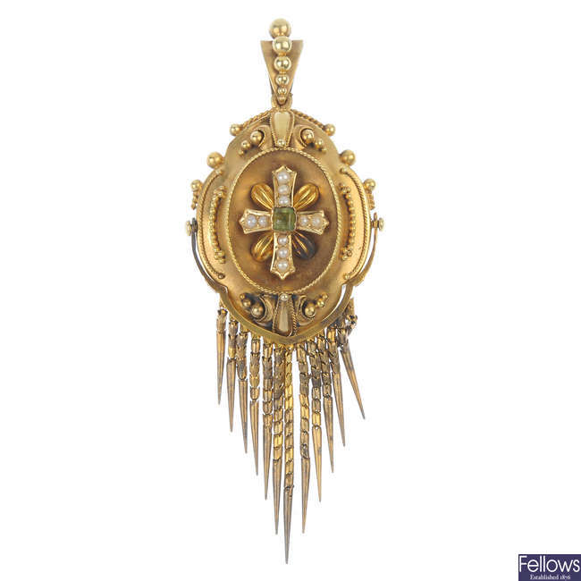 A late 19th century gold, peridot and split pearl pendant.