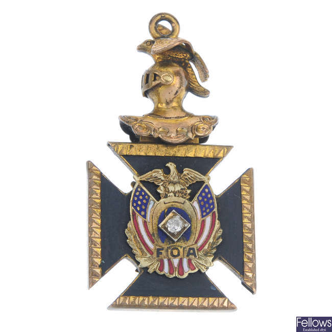 An early 20th century American fob pendant for the Foresters of America order.