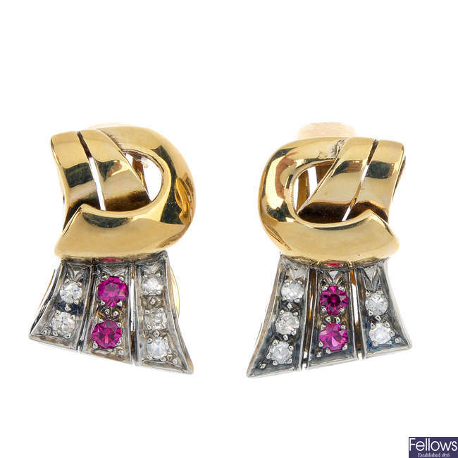 A pair of synthetic ruby and diamond ear clips.