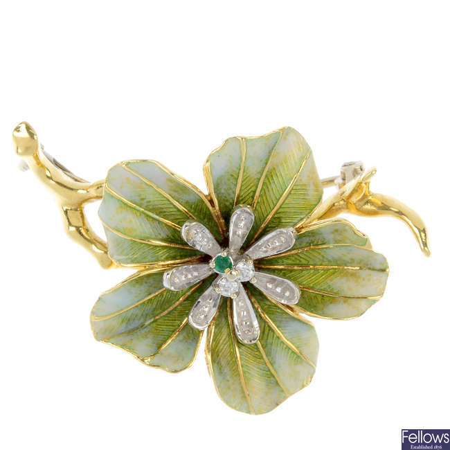 An 18ct gold diamond, emerald and enamel flower brooch.