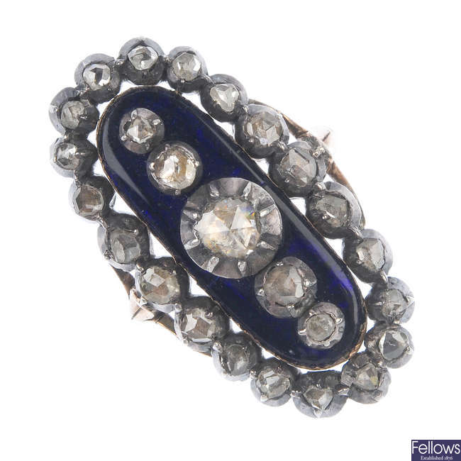 An early Victorian enamel and diamond ring.