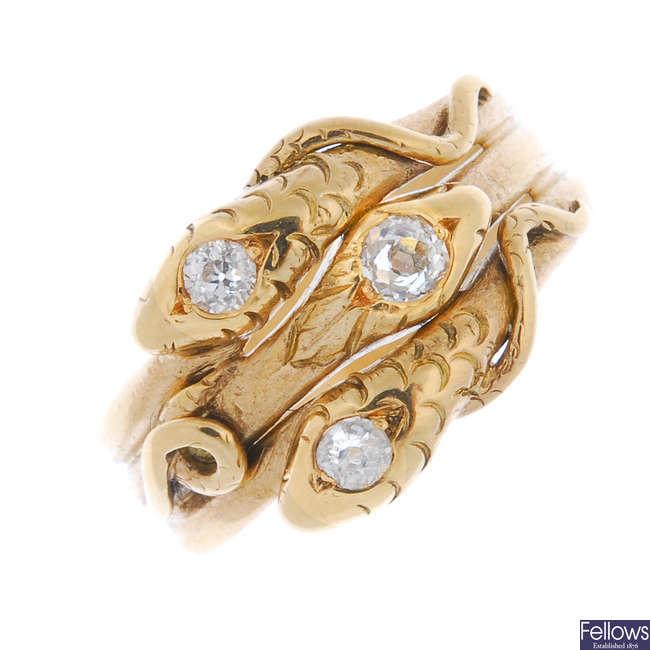 A diamond snake ring.