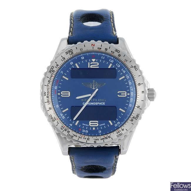BREITLING - a gentleman's stainless steel Chronospace wrist watch.
