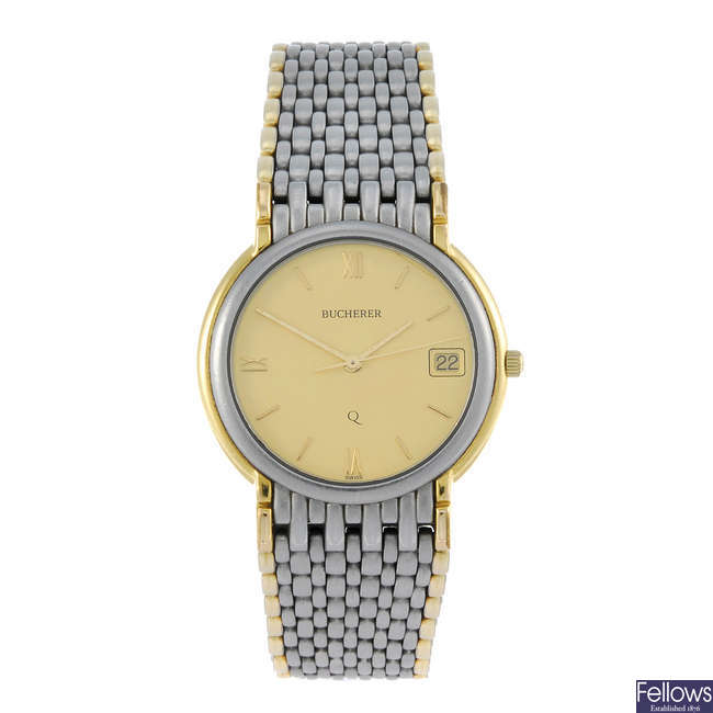 BUCHERER - a mid-size bi-colour bracelet watch with two other watches.