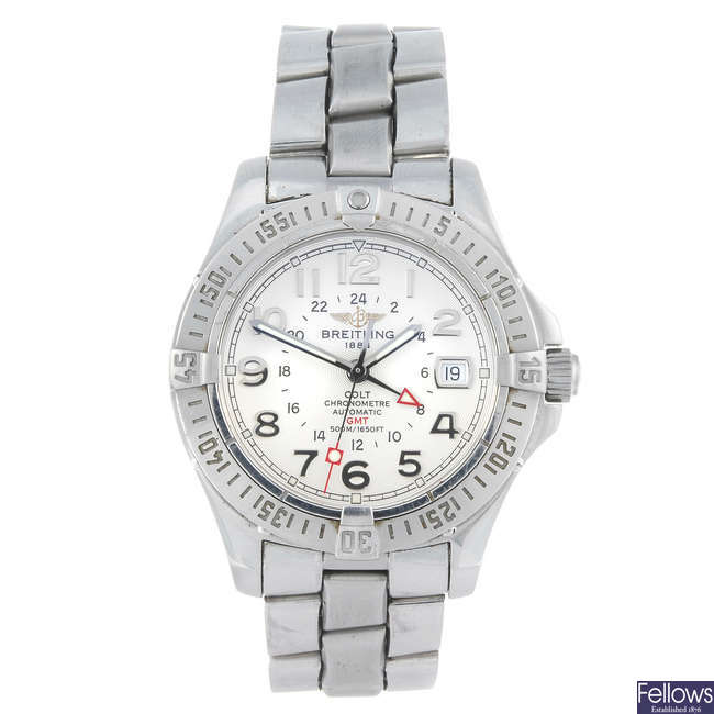 BREITLING - a gentleman's stainless steel Aeromarine Colt GMT bracelet watch.