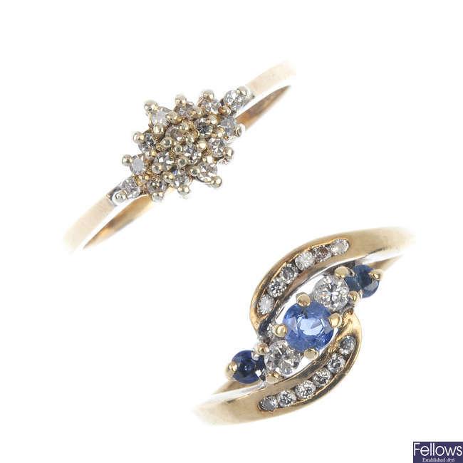 Two 9ct gold gem-set rings.