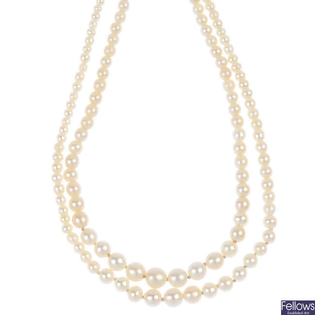 A cultured pearl two-row necklace, with diamond clasp.