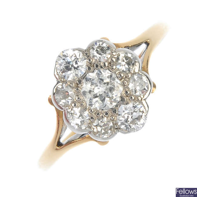An early 20th century 15ct gold diamond cluster ring.