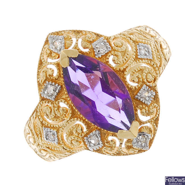 An amethyst and diamond dress ring.