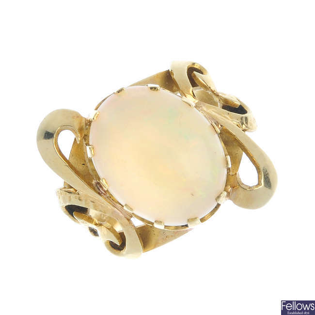 An opal dress ring.
