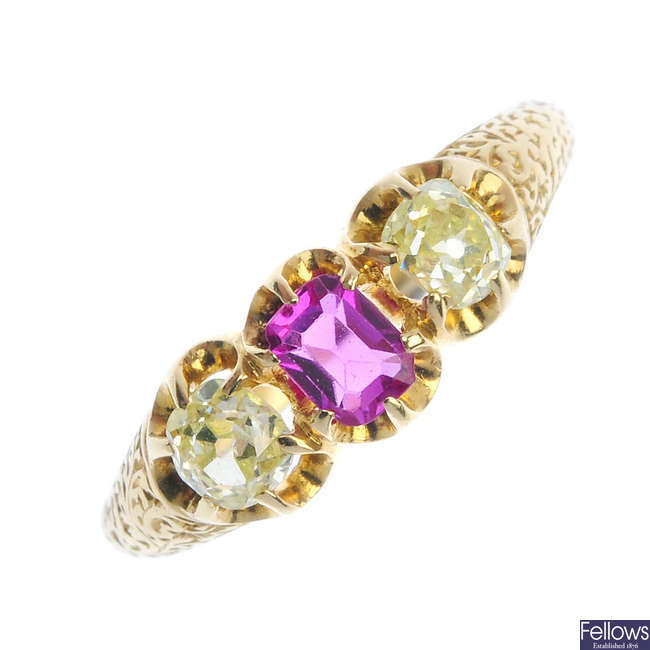 A late 19th century 18ct gold ruby and diamond three-stone ring.