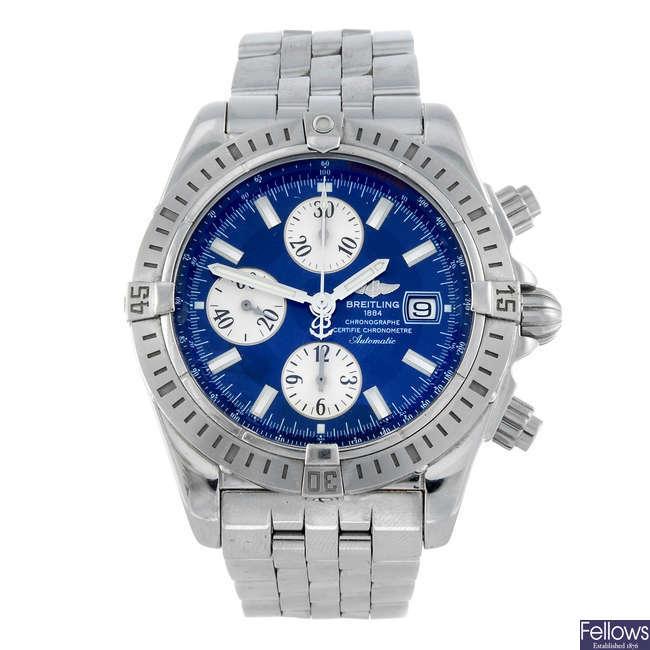 BREILTING - a gentleman's stainless steel Chronomat Evolution chronograph bracelet watch.