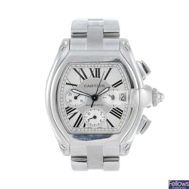 CARTIER - a stainless steel Roadster XL chronograph bracelet watch.