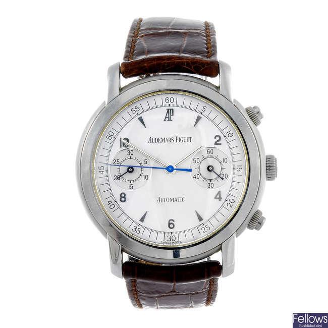 AUDEMARS PIGUET - a gentleman's Jules Audemars chronograph wrist watch.
