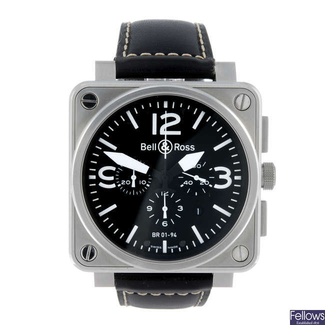 BELL & ROSS - a gentleman's stainless steel Collection Aviation chronograph wrist watch.