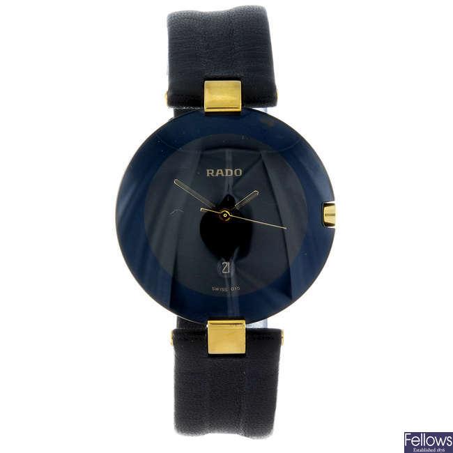 (108634) RADO - a gentleman's bi-material wrist watch together with another Rado wristwatch.