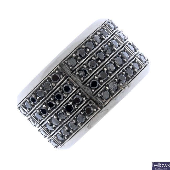 A gem-set spinner ring.