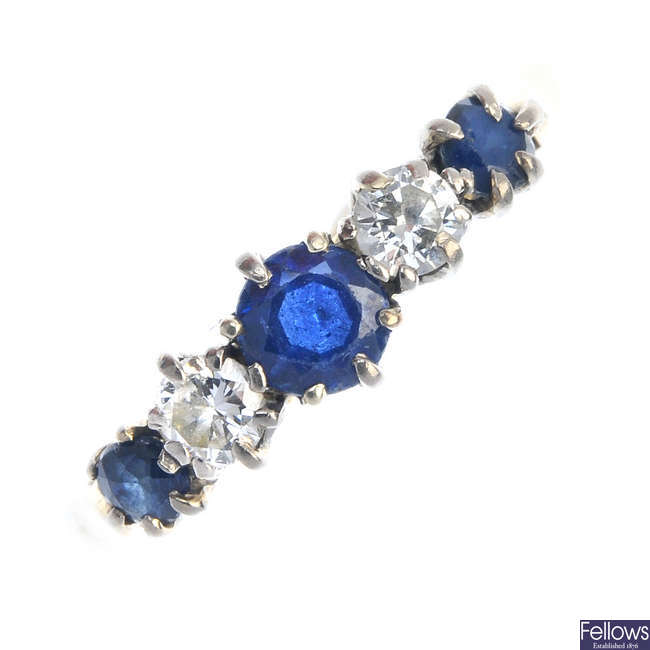An 18ct gold sapphire and diamond five-stone ring.