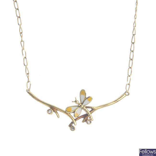 An enamel and diamond dragonfly foliate pendant.