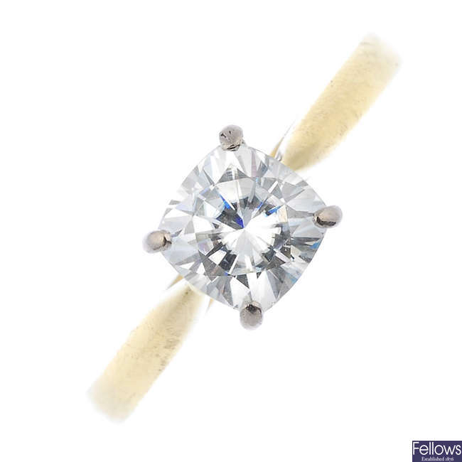 An 18ct gold synthetic moissanite single-stone ring.
