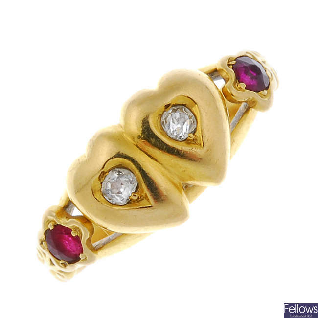 A late Victorian 18ct gold diamond and ruby ring.