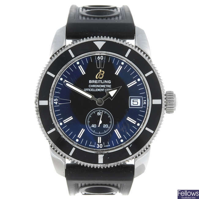 BREITLING - a gentleman's stainless steel Aeromarine Superocean Heritage wrist watch.