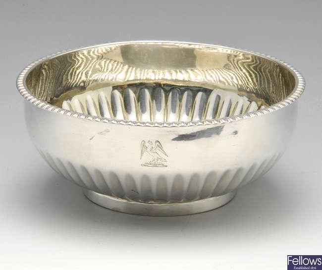 A George III silver bowl.