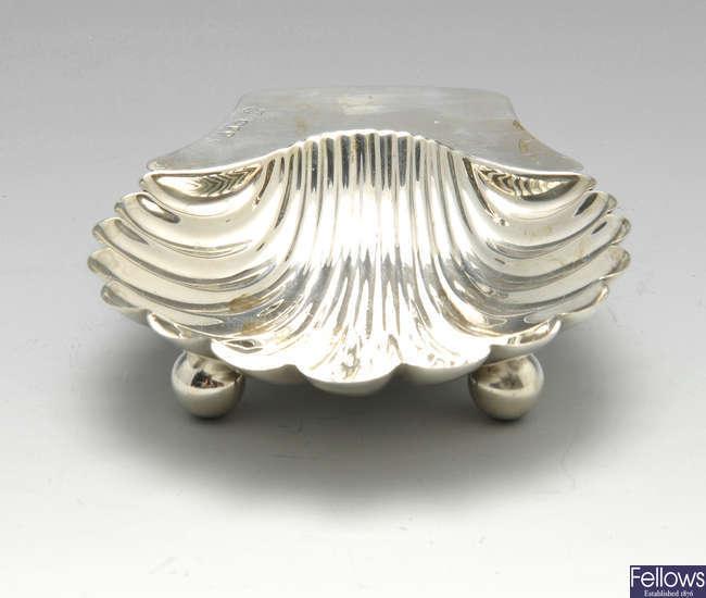 A Victorian silver butter shell.