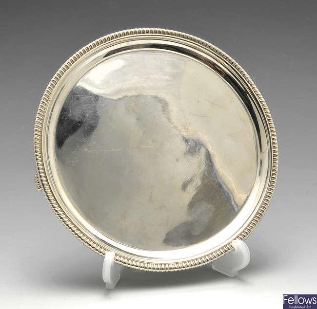 A George III silver waiter.