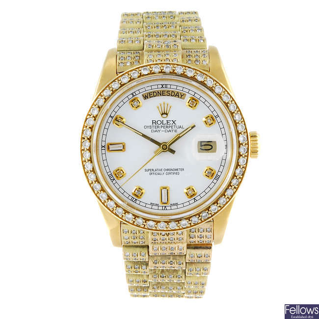 (126710-1-A) ROLEX - a gentleman's 18ct yellow gold Oyster Perpetual Day-Date bracelet watch.