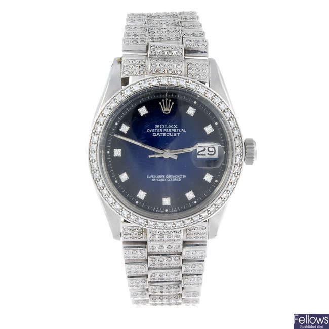 (126895-1-A) ROLEX - a gentleman's stainless steel Oyster Perpetual Datejust bracelet watch.