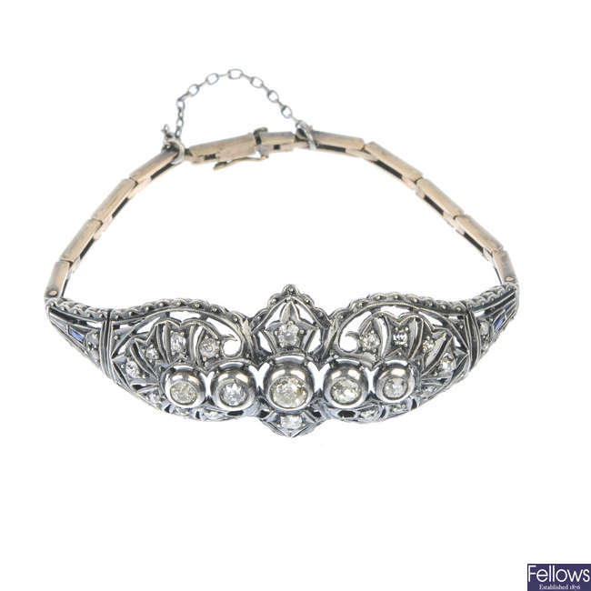 An early 20th century silver gold continental diamond bracelet.