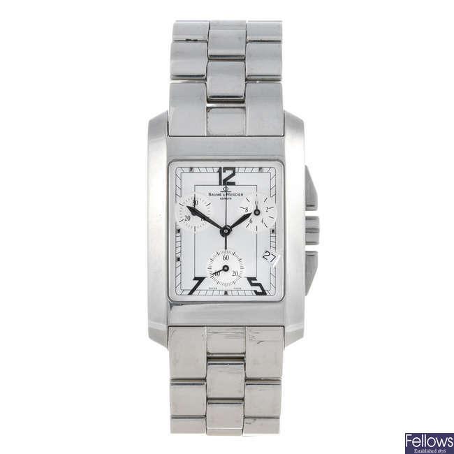 BAUME & MERCIER - a gentleman's stainless steel Hampton chronograph bracelet watch.
