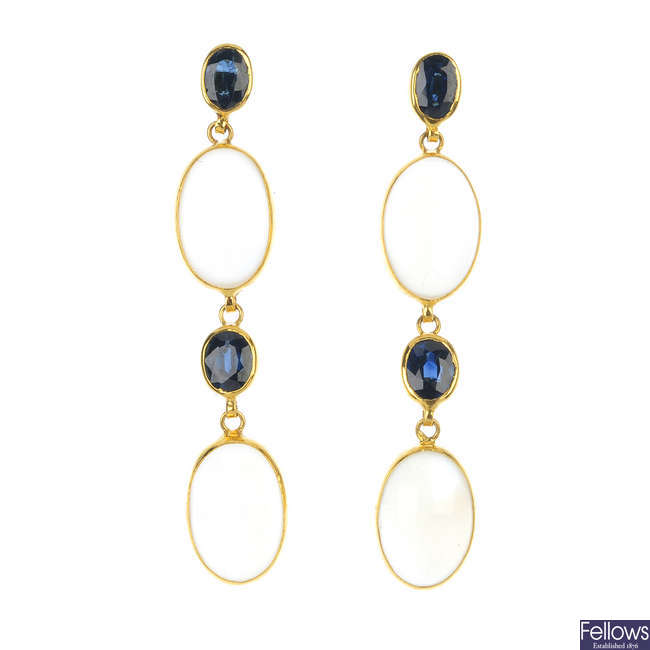 A pair of 14ct gold moonstone and sapphire ear pendants.