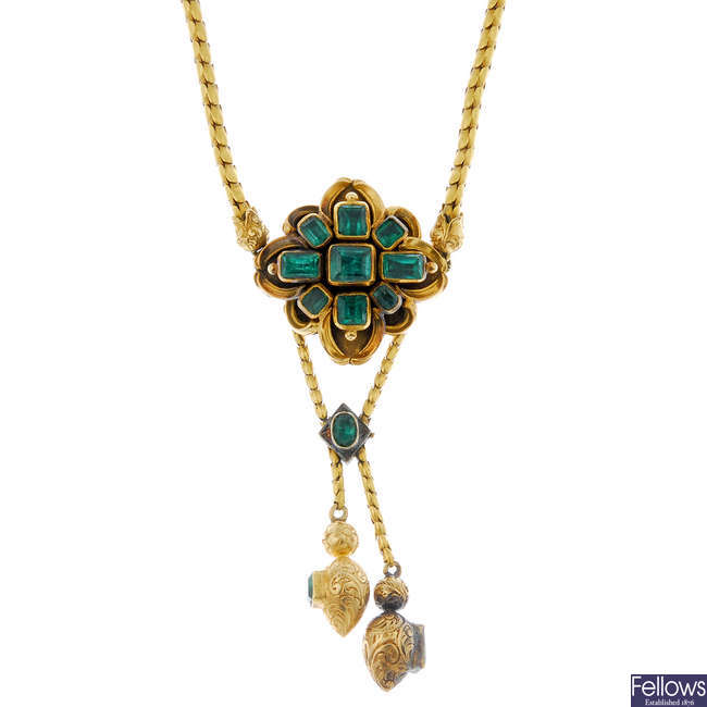 A late 19th century 18ct gold emerald necklace.
