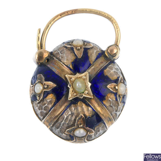 A late 19th century enamel and split pearl heart padlock locket/clasp.