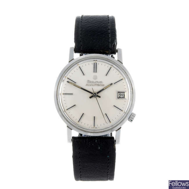 BULOVA - a gentleman's stainless steel Accutron wrist watch.