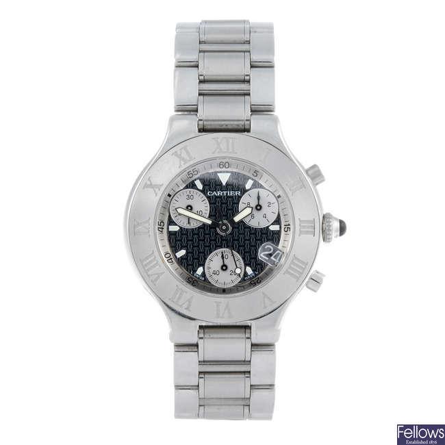 CARTIER - a stainless steel Chronoscaph 21 chronograph bracelet watch.