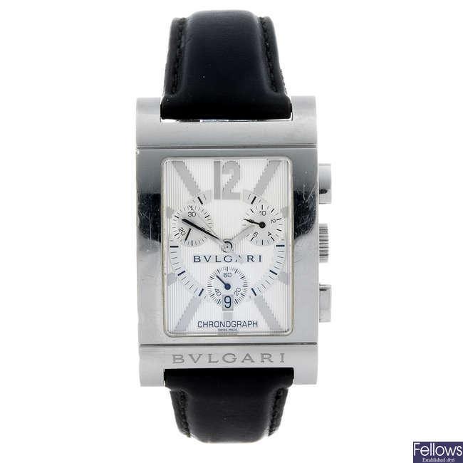 BULGARI - a gentleman's stainless steel Rettangolo chronograph wrist watch.