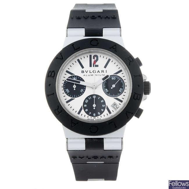 BULGARI - a gentleman's aluminium Diagono Aluminium chronograph wrist watch.