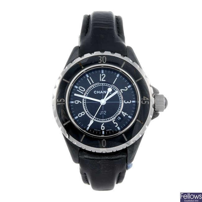 CHANEL - a lady's ceramic J12 wrist watch.