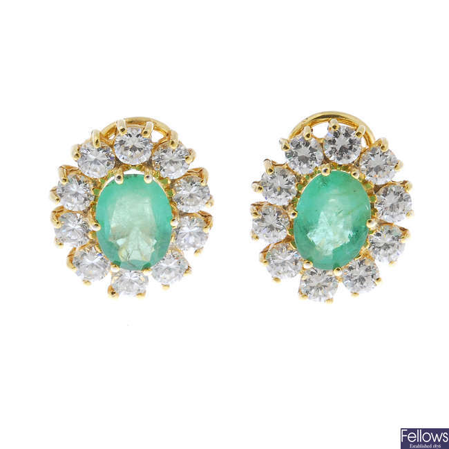 A pair of 18ct gold emerald and cubic zirconia cluster ear studs.