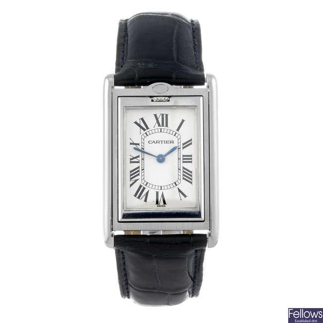 CARTIER - a stainless steel Basculante wrist watch.