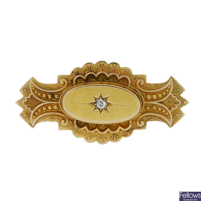 A late Victorian 9ct gold and diamond memorial brooch.