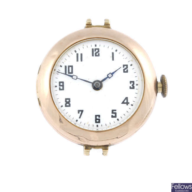 A lady's 9ct yellow gold watch head.