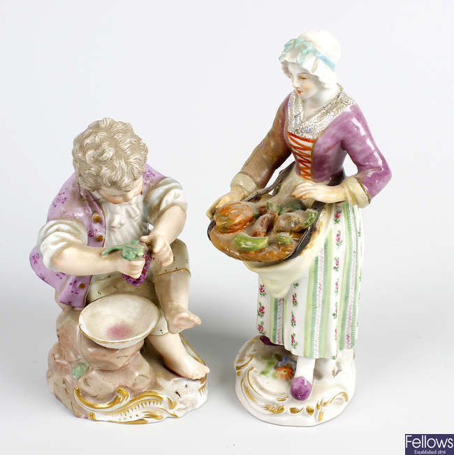 A Meissen figure, plus another.