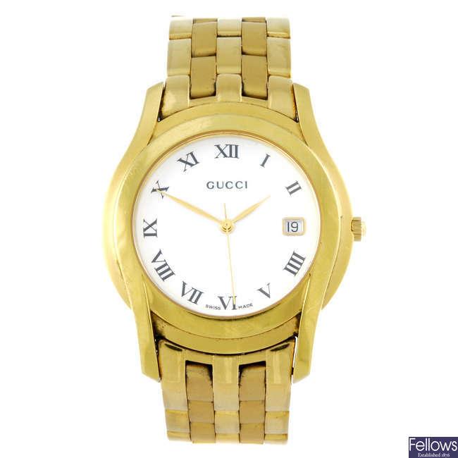 GUCCI - a gentleman's gold plated 5400M bracelet watch.