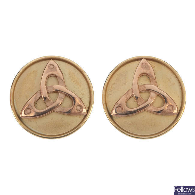 CLOGAU - a pair of 9ct gold earrings.