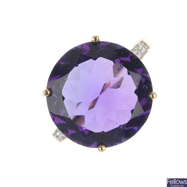 A 9ct gold amethyst and paste ring, together with a pair of amethyst and diamond earrings.