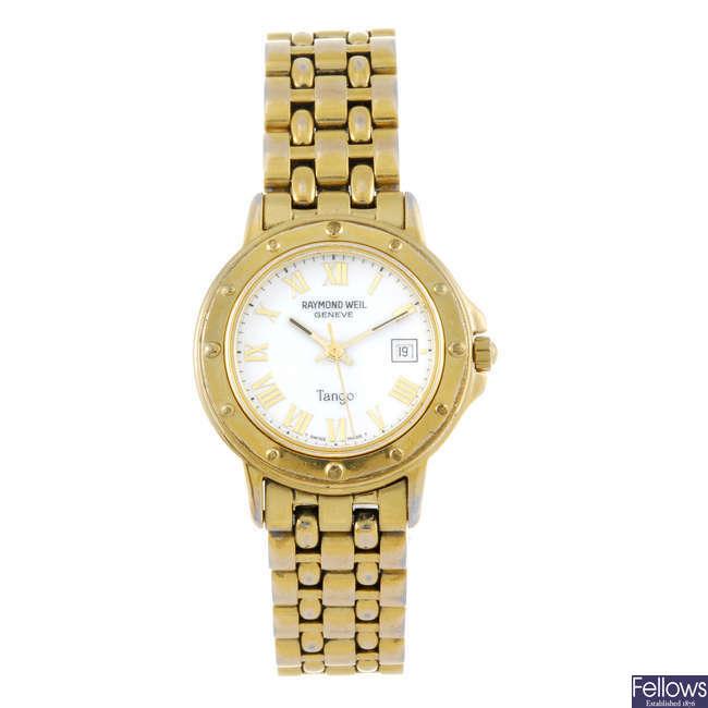 RAYMOND WEIL - a lady's gold plated Tango bracelet watch.